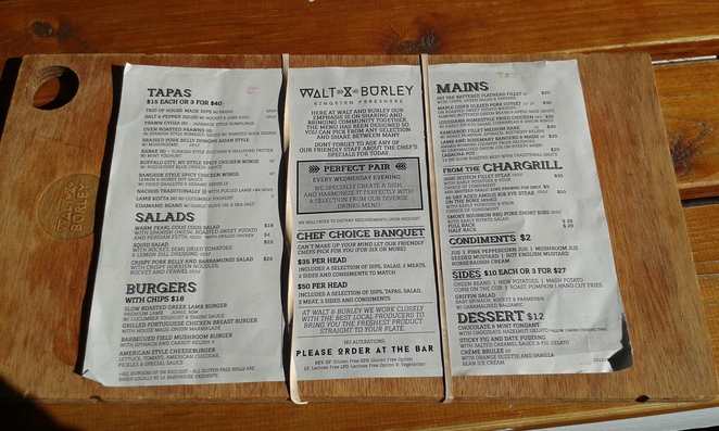 Menu, Walt and Burley, Kingston Foreshore, Canberra