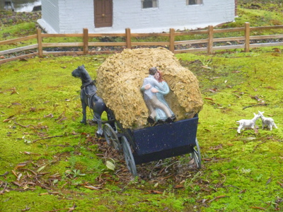 Couple in cart in Hobart Town Model Historical Village