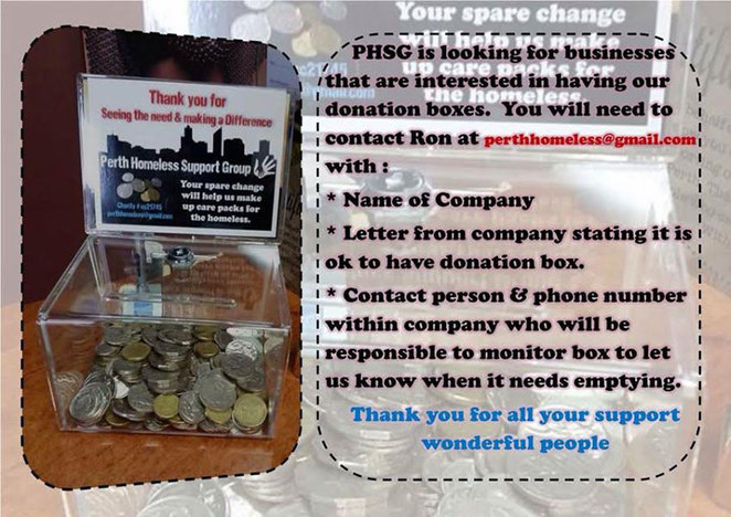 Perth Homeless Support Group Donation Boxes