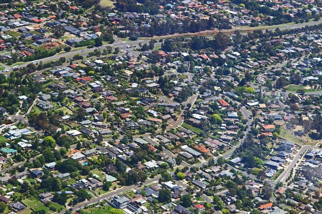 suburbia from the air.