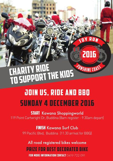 Sunshine Coast Toy Run 2016, new toys, new books, unwrapped, ages babies to teenagers, Salvation Army, Kawana Shopping World, Blackall Range Ulysses Club, motorcycles, charity