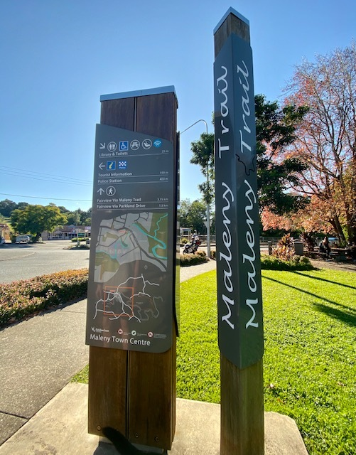 The Maleny Trail can be followed in either direction from Tesch Park