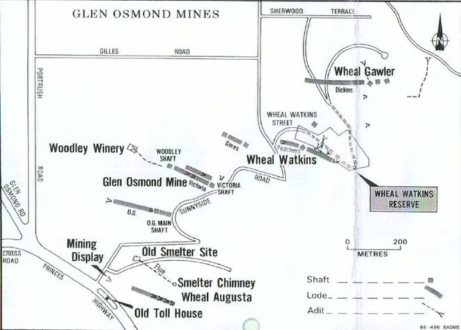 wheal watkins, wheal watkins mine, wheal watkins silver mine, glen osmond mine tour, glen osmond mines map, silver mine, silver mine in glen osmond, burnside historical society, burnside council, department of mines