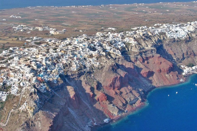 The Caldera Santorini aerial view