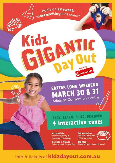 brick-a-laide, brickalaide, kidz gigantic day out, play, learn, build, discover, active kidz come 'n' try, sanfl, saca, afl auskick, milo cricket, giant nerf, challenge, science lab and nature play, science craft and electric circuits, slime, bugs'n'slugs, native animals, dig-a-dino, starlab planetarium experience, lego, big rigz, fire engines, trucks, rescue boats, cranes, Adelaide convention centre