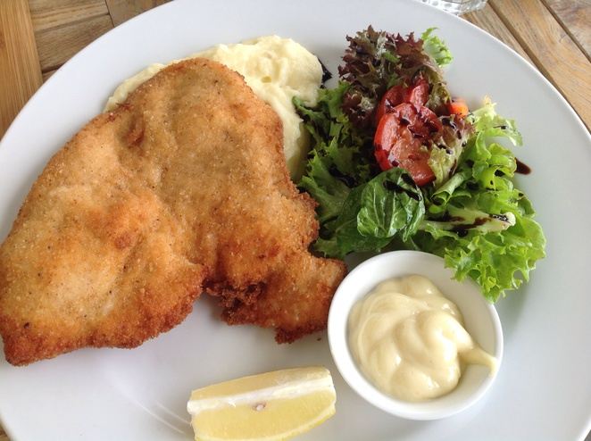 Chicken Schnitzel lunch served at Bella Vista Cafe