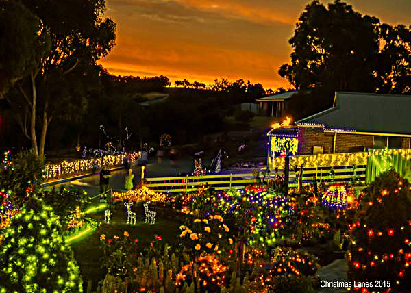 Christmas, lights, display, pegandbill, Lobethal, 2016, house, sunset