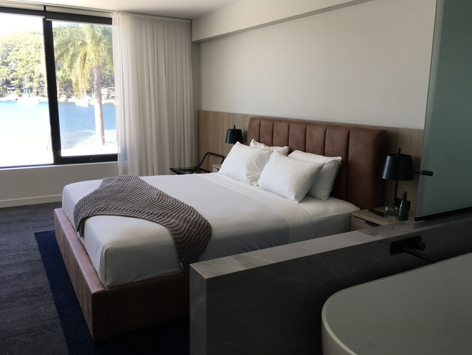 Guest room at the Newly renovated Pasadena Restaurant Church Point water views beautiful garden