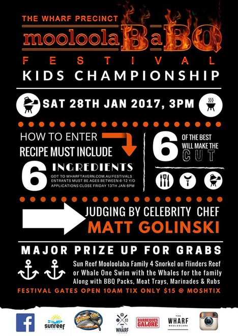 MooloolaBaBQ Festival, 28 January 2017, The Wharf Tavern, Parkyn Parade, Mooloolaba, Australia Day, BBQ Event, seafood, pork, beef, lamb, National Championship Series BBQ Competition, MooloolaBaBQ Kids Championship, prizes to be won, Matt Golinski, food market stalls, craft beer, celebrity guests, demonstrations, jumping castle, animal zoo, face painting, fireworks, Cancer Council