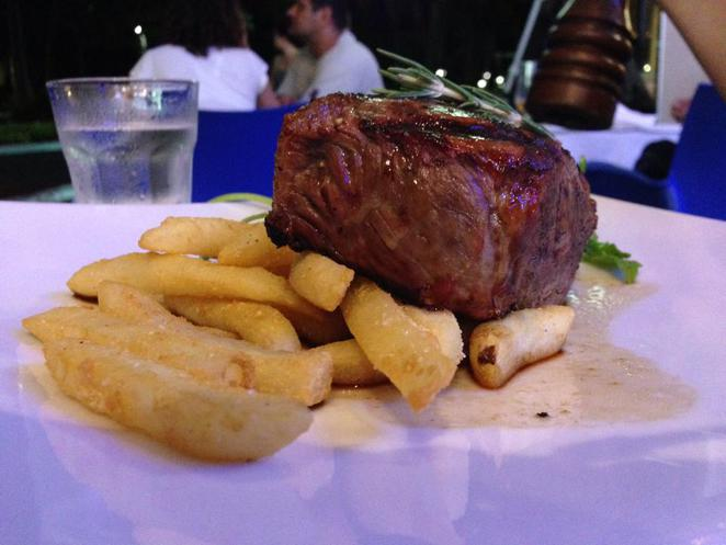 raw prawn, seafood, restaurant, cairns, culinary, sirloin, steak, fries, potato, chips, chargrilled, dinner, dining, yum, food