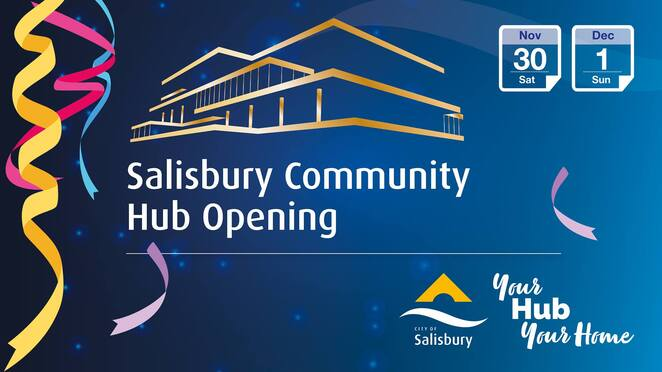 Salisbury community hub opening, Christmas market, Christmas parade, the last showman, lego, esports, bubble show, Mario kart, 3d printing, food trucks, performances, tours, free, face painting