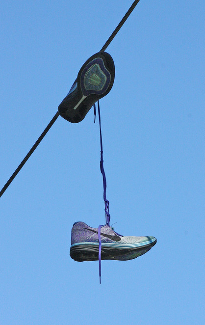 shoes over power lines.