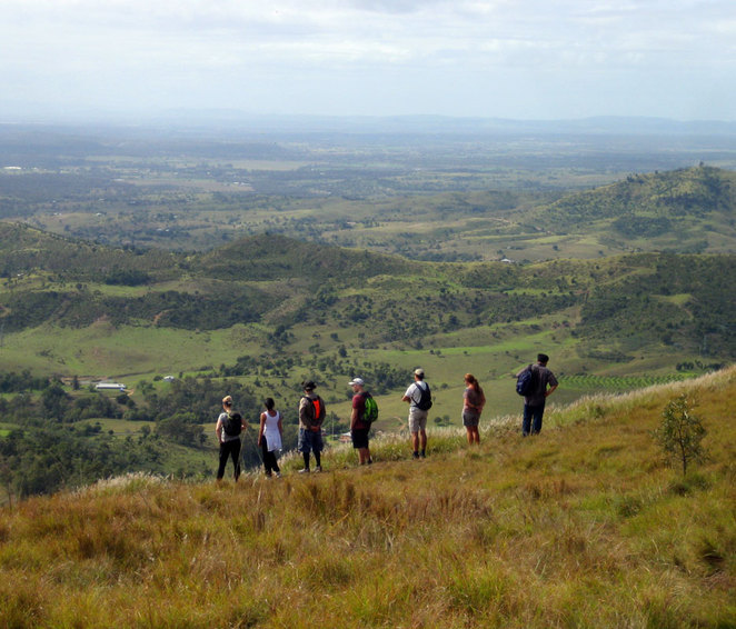 Hikers on top of Toowoomba's Tabletop Mountain