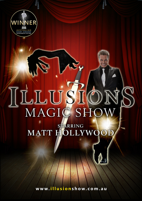 matt hollywood, illusions magic show, comedy, levitation, dinner show, village theatre, sanctuary cove