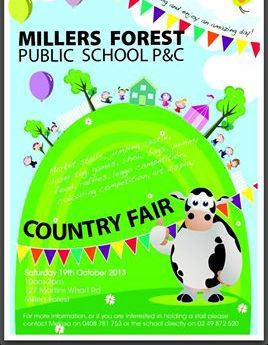This image is from the Millers Forest P & C Primary School Country Fair Facebook page.