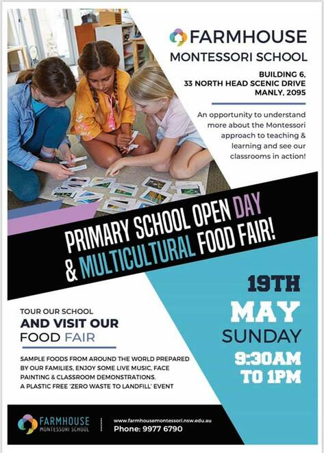 primary school open day, farmhouse montessori, multicultural food fair 2019, community event, manly nsw, international food stalls, community event, fun things to do, tour montessori school, key montessori lessons, montessori method of teaching, face painting,