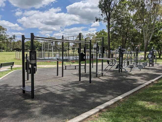 Outdoor gym equipment at Perrin Park