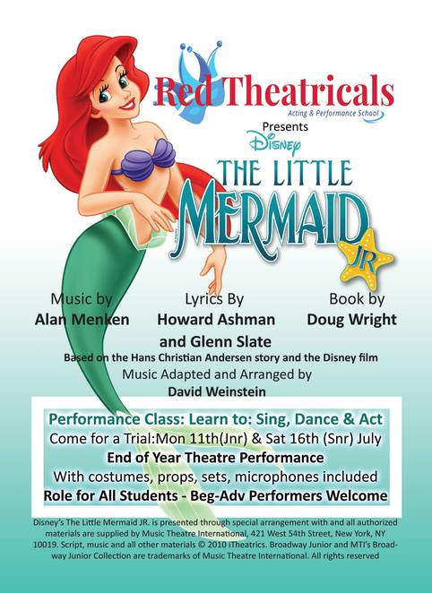 red theatricals, drama school, rebecca fortuna, disney the little mermaid, templestowe memorial hall, acting classes, dancing classes, performing arts, singing classes, television acting