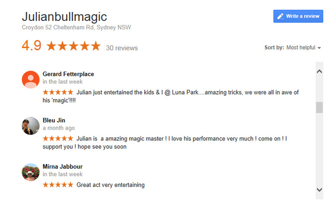 Reviews: Julian Bull, Magician