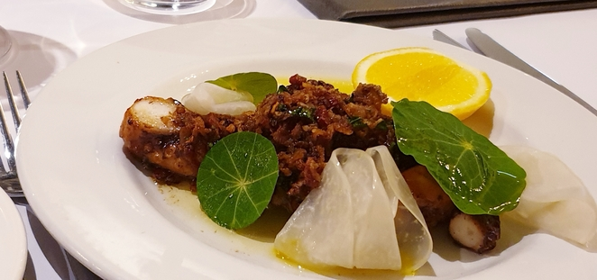 Seafood, octopus, Mediterranean, fine dining, entree, dinner, romance, group