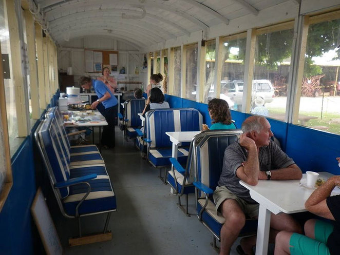 Visitors enjoy the relaxed atmosphere and light refreshments served in the 'Picnic Van', a converted guard's van at the South West Rail and Heritage Centre