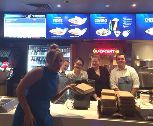 Amy Schumer trying out the new menu Village cinema-