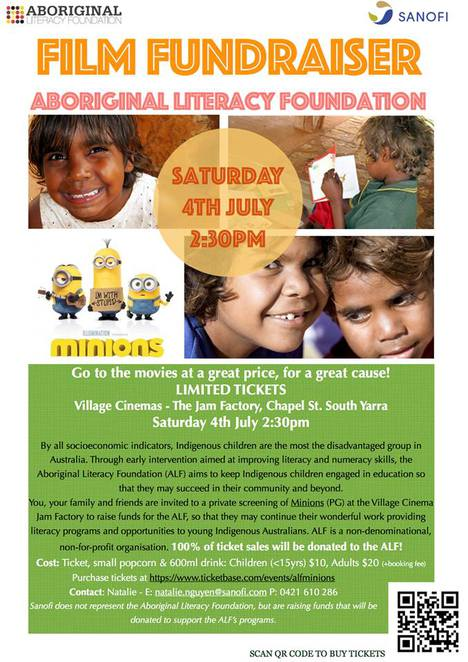 aboriginal literacy foundation, indigenous australian, jam factory, alf, fundraiser, minions film, village cinema, education,