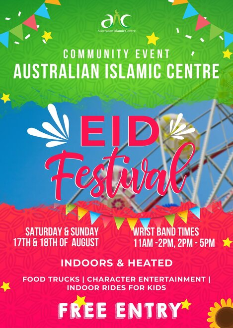 aic eid al-adha festival 2019, community event, fun things to do, australian islamic centre, seaworks maritime precinct, williamstown, mosque committee, muslim event, rides, food stalls, cultural event, entertainment, family fun
