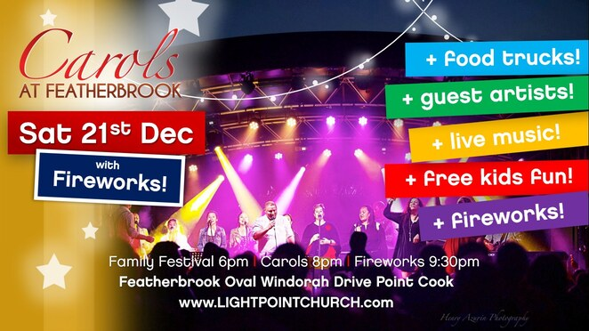 carols at featherbrook 2019, community event, fun things to do, free christmas event, featherbrook oval point cook, lightpoint church, featherbrook band and choir, brendan and cathy clancy, fireworks, entertainment, activities, show time