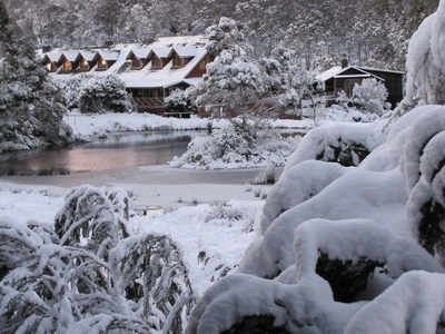 Peppers Cradle Mountain Lodge in the snow