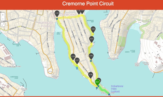 cremorne, point, reserve, wild walks, map