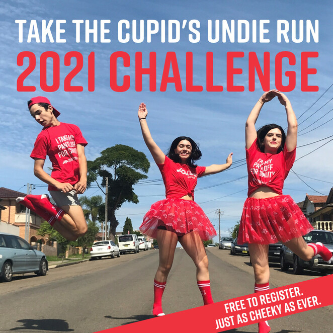 cupid's undie run 2021 challenge, community event, fun things to do, charity, fundraiser, online event, running competition, challenges, prizes, valentines day, undie sunday, cupid's undie run after party from home, ctf, children's tumour foundation, neurofibromatosis, nf