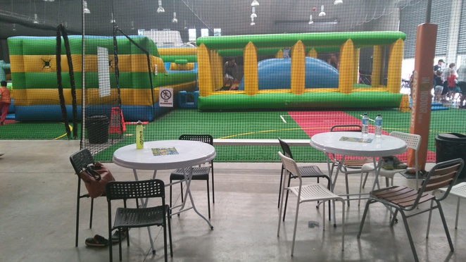 inflatable world, seating, parents