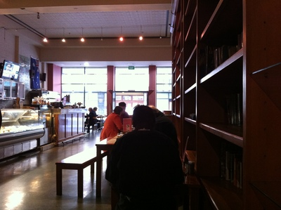 The interior of Cafe Delizia is spacious and welcoming