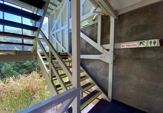 The visitor information centre has an upper level with viewing decks and public toilets