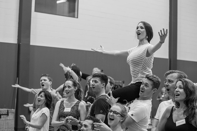 Photo of Kiss Me Kate rehearsals courtesy of Opera Q