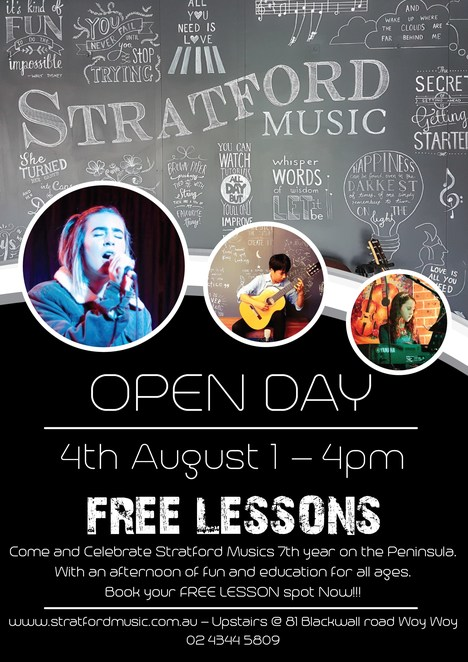 open day at stratford music, free lessons, drums lesson, piano lessons, guitar lessons, violin lessions, viola lessons, vocals lesson, student performance, music tuition centre, centra coast sydney, musical community, community event, fun things to do, professional music tutors, chris and madeline stratford