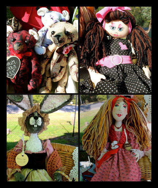 the calico co, Leah Arbuthnott, markets, stall holder, stalls, shopping, one of a kind, OOAK, cloth dolls, cloth bears, sculpted dolls, hand made, original design, raggady ann and andy, golliwogs, fridge magnets