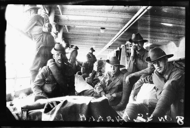 The wounded and sick Anzacs on the 'Kyarra'