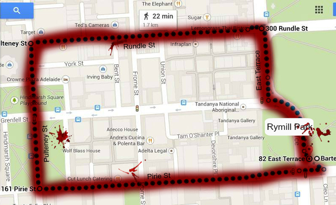 2014 Adelaide Zombie Walk route