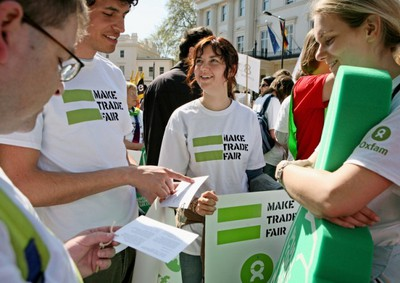 Volunteers at an Oxfam event. Image is from the Oxfam website.