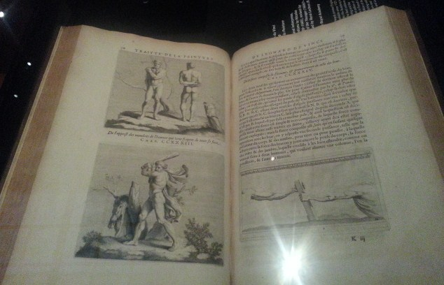 Engraved illustrations from a 17th century book on display