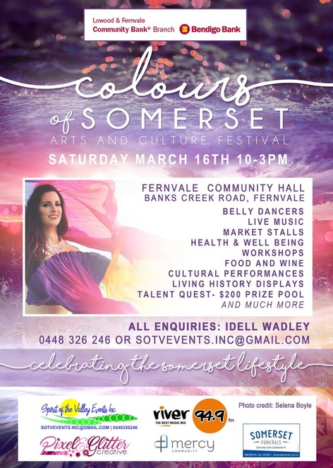 colours of somerset, arts and culture festival, fernvale community hall, belly dancers, entertainment, community event, fun things to do, live music, market stalls, health & wellbeing workshops, food and wine, cultural performances, living history displays, talent quest