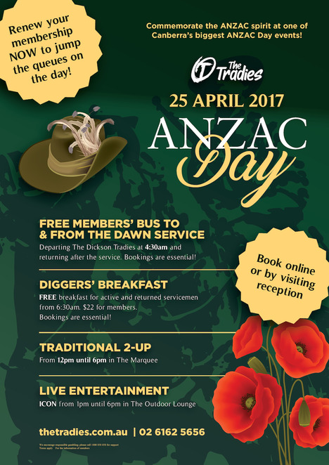 dickson tradies, canberra, ACT, anzac day, 2017, two up, pubs, clubs,