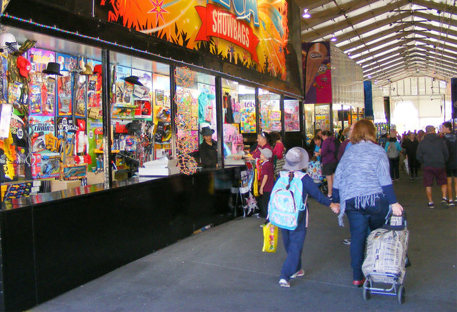 The show bag pavilion has over 300 different show bags