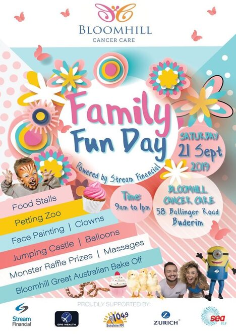 Family Fun Day at Bloomhill Cancer Care, FREE Event, Bloomhill Great Australian Bake Off, Colouring Competition, Skipping Workshops, Photography Exhibition, Hope and Peace from Within, SEAFM, BarRat, Heidi, JulieArt Face Painting, Coast Face Painting by Bryony, jumping castle, Sunshine Coast Party Ponies, mobile farm animals, Reptiles 2 U, musical entertainment, Coastal Caring Clowns, Spritely Designs, Balloon Animal Twisting, massage therapists, plant stands, roving cartoon characters, monster raffle prizes, SHAKA SHACK Hawaiian Shaved Ice, Crepe on a Stick, Stream Financial, GPS Wealth, Zurich Insurance, Loan Market, Sandra Scott, Sunshine FM 104.9, 91.9 Sea FM