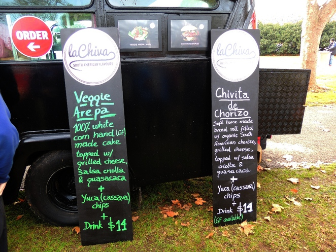 food truck, fork on the road, la chiva, in adelaide, welcome to australia, street food, south american, burger, menu