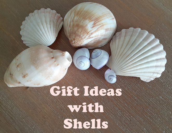 gift ideas with shells, shells, kids craft, crafts, children, family, ideas, shells, necklaces, wind chimes, gift tags, lady bugs, australia, shell lady bugs, lady beetles,