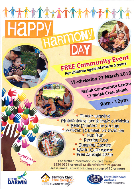 Harmony Day, free, children activity, Darwin, Malak community centre, children, community event
