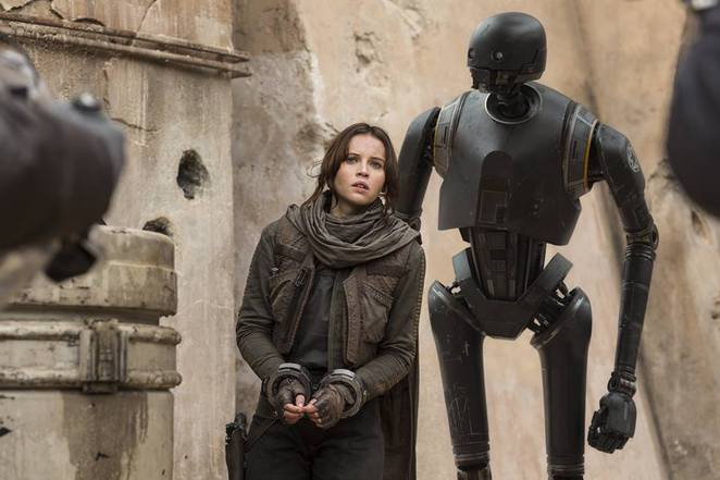 Jyn Erso and K-2SO in Rogue One: A Star Wars Story